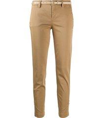 liu jo belted straight leg trousers - brown