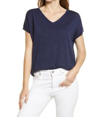caslon(r) v-neck dolman sweater, size x-small in navy peacoat at nordstrom