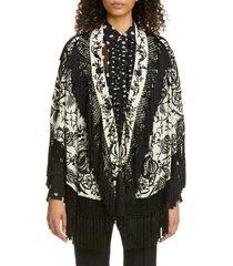 women's dries van noten faena floral embroidered silk tassel jacket, size one size - black