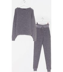 womens knit happens sweater and joggers lounge set - grey