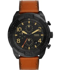 fossil men's chronograph bronson brown leather strap watch 50mm