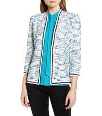 ming wang tweed stripe knit jacket, size medium in bahama/black/white at nordstrom