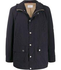 brunello cucinelli multi-pocket hooded jacket - blue