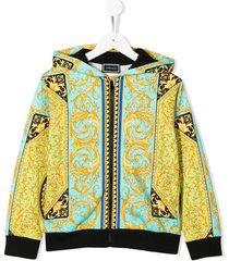 young versace patchwork baroque print hoodie - green