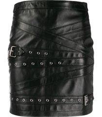 manokhi double buckle skirt - black