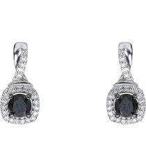 orecchini a lobo con diamanti bianchi e neri 0,065 ct per donna