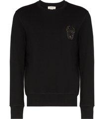 alexander mcqueen sequin skull logo sweatshirt - black