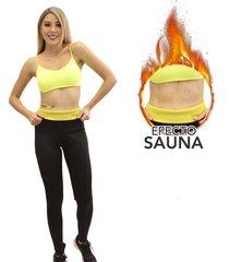 leggings deportivo con pretina reductoras  mujer - para adelgazar - neopreno negro - canela by elvira burgos