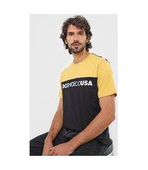 camiseta dc shoes grid block amarela/preta