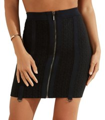 guess mirage logo garter-strap zip mini skirt