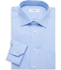 eton men's classic-fit patch pocket dress shirt - blue - size 17