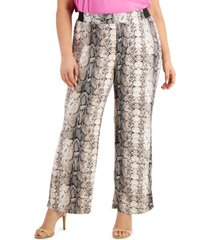 inc plus size snake-embossed pants, created for macy's