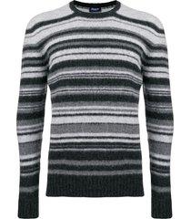 drumohr striped slim-fit sweater - grey