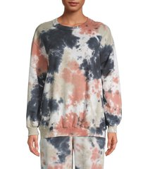 lucca women's printed stretch-cotton sweatshirt - yellow pink - size s
