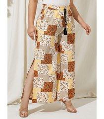 yoins plus talla bufanda estampado pierna ancha cintura elástica pantalones