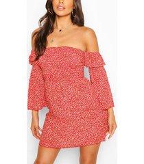 gebloemde jurk met boothals in kleine maten, rood
