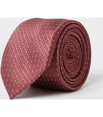 river island mens dark pink spot print tie