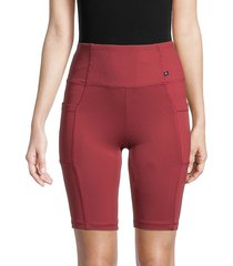 balance collection women's belle ribbed biker shorts - burnt russ - size l