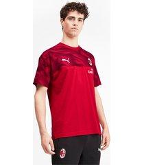 ac milan casuals t-shirt voor heren, zwart/rood, maat xl | puma