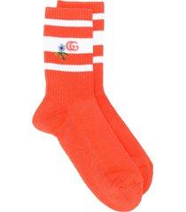 gucci gg knitted socks - orange