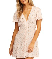 billabong full swing print button front dress, size x-small in mdd0-soft pink at nordstrom