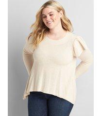 lane bryant women's long ruffle-sleeve sweater 22/24 oatmeal heather