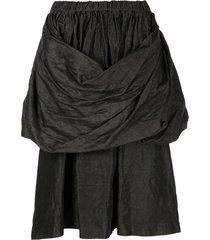 comme des garçons comme des garçons draped mid-length skirt - black