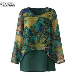 zanzea camisa casual con cuello redondo para mujer blusa suelta con estampado floral tallas grandes -verde