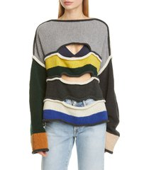 women's eckhaus latta cutout merino wool blend sweater