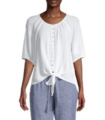 beach lunch lounge women's lala cotton tie-front blouse - white - size xs