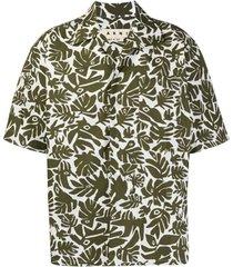 marni leaf print short-sleeved shirt - verde