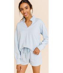 women's lucie ruffled high neck sweatshirt in light blue by francesca's - size: l
