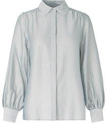 blouse met pofmouwen rosa  lichtblauw