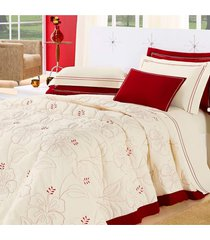 cobre leito belle queen casa dona 5 pecas vermelho - incolor - dafiti