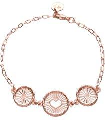 bracciale con charm cuore e raggi in bronzo rosato per donna