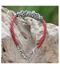 leather braided flower bracelet, 'exotic flora in red' (indonesia)