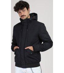 jaqueta masculina com capuz preta