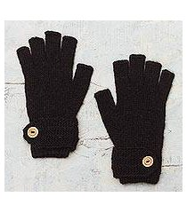 100% alpaca gloves, 'winter nights' (peru)