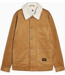 mens brown tan corduroy borg chore jacket