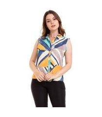 camisa kinara regata geométrica feminina