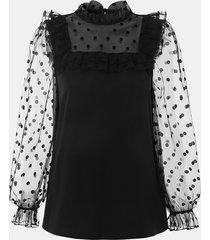 camicetta con colletto alla coreana a maniche lunghe in patchwork di pizzo con stampa a punti