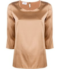 snobby sheep 3/4 sleeves round-neck blouse - brown