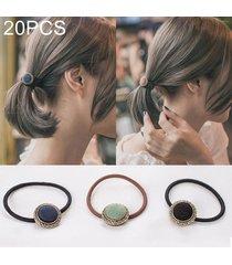 20 pcs retro estilo de boton de tela goma elastica banda de pelo color al azar entrega