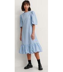trine kjaer x na-kd back detail volume sleeve dress - blue