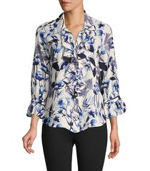 karl lagerfeld paris women's floral-print bell-sleeve top - soft white multi - size xs