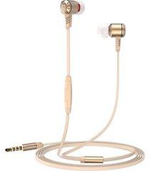 audífonos manos llibres, m410 3.5mm super bass sport auriculares auriculares de cable plano metal en auriculares con micrófono para teléfono (oro)