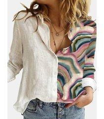 camicetta patchwork colletto rovesciato manica lunga stampata paesaggio per donna