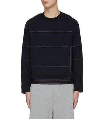 contrast stitch elastic hem sweatshirt