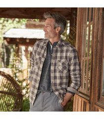 sundance catalog men's dayton plaid shirt in blue/black xl
