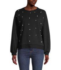 lea & viola women's long-sleeve cotton-blend sweatshirt - black - size s